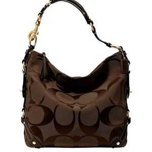 COACH Signature Chocolate Brown Large  Carly Hobo